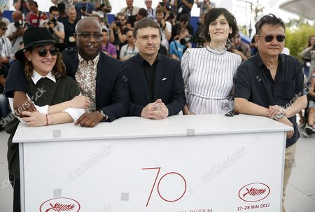 Stock Picture of (L-R) Greek producer Athina Rachel Tsangari, US producer Barry Jenkins, Romanian director Cristian Mungiu, French actress Clotilde Hesme and 