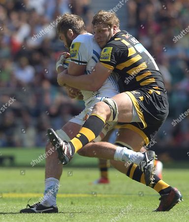 Wasps' Joe Launchbury (Right) clings onto Exeter's Geoff Parling in a tackle - Rugby Union - Aviva Premiership Final - Wasps V Exeter Chiefs - 27/05/17 - at Twickenham Stadium London, UK. Photo Credit; Tom Dwyer/Seconds Left Images