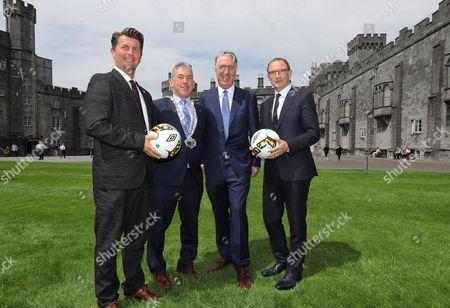Women's manager Colin Bell, Councillor Matt Doran, Cathaoirleach of Kilkenny County Council, CEO John Delaney and senior manager Martin O'Neill