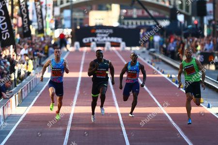 Richard Kilty, Harry Aikines-Aryeetey and Lykourgos-Stefanos Tsakonas compete in the men's 150m
