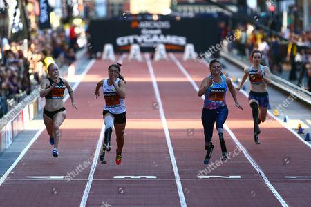 Laura Sugar, Sophie Kamlish, Marlou Van Rhijn and Stefanie Reid in the women's T44 100m