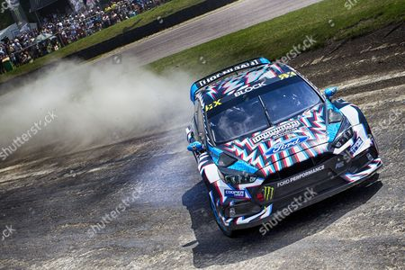 Ken Block, Hoonigan Racing Division into paddock bend Q1 during WRX 2017 Round Five Qualifying at Lydden Hill Race Circuit on 27th May 2017