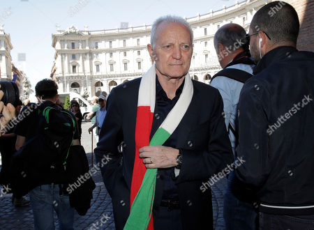 """Italian fashion designer Santo Versace arrives for the funeral service of Laura Biagiotti in Rome, . Laura Biagiotti, an Italian fashion designer who conquered global markets with her soft, loose women's clothes and luxurious knits that won her the nickname """"Queen of Cashmere,"""" died Friday following a heart attack. She was 73"""