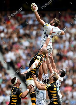 Geoff Parling of Exeter Chiefs looks to win the ball at a lineout