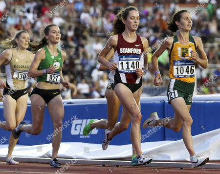 San Francisco's Charlotte Taylor takes the lead over Stanford's Fiona O'Keeffe during the 5000 meter run at the NCAA Outdoor Track and Field West Preliminary at the University of Texas Mike A. Myers Stadium in Austin, TX