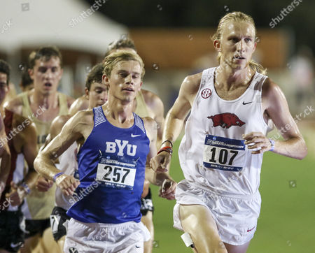 Stock Image of Arkansas' Jack Bruce takes the lead over BYU's Clayton Young during the men's 5000 meter run at the NCAA Outdoor Track and Field West Preliminary at the University of Texas Mike A. Myers Stadium in Austin, TX