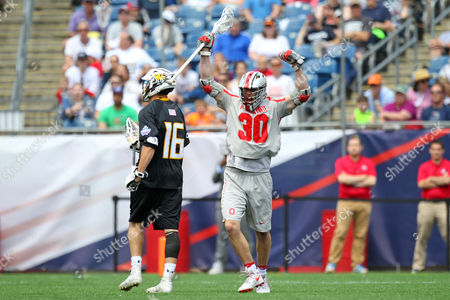 , 2017; Foxborough, MA, USA; Ohio State Buckeyes midfielder Johnny Pearson (30) reacts after scoring a goal during the NCAA semifinal lacrosse game between Towson Tigers and Ohio State Buckeyes at Gillette Stadium. Ohio won 11-10