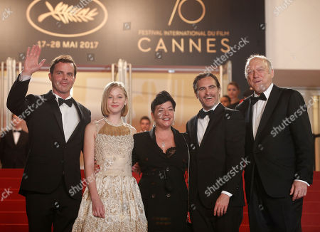 John Doman, Joaquin Phoenix, Lynne Ramsay, Ekaterina Samsonov Actors Alex Manette, from left, Ekaterina Samsonov, director Lynne Ramsay, Joaquin Phoenix and John Doman pose for photographers upon arrival at the screening of the film You Were Never Really Here at the 70th international film festival, Cannes, southern France