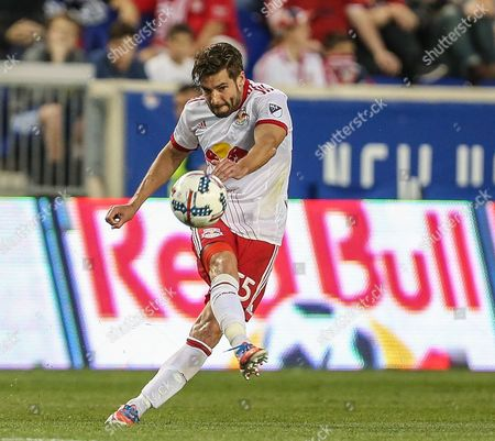 New York Red Bulls defender Damien Perrinelle (55) makes a pass during an MLS game between the New England Revolution and the New York Red Bulls at Red Bull Arena in Harrison, NJ. New York won, 2-1