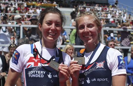 Bronze medalists Emily Craig (L) and Katherine Copeland (R) from Britain pose on the podium during the medal ceremony for the Lightweight Women's Double Sculls final during the Rowing European Championships in Racice, Czech Republic, 28 May 2017.