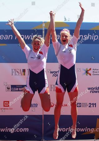 Stock Picture of Gold medalists Kristyna Fleissnerova (L) and Lenka Antosova (R) from Czech Republic react on the podium during the medal ceremony for the Women's Double Sculls final during the Rowing European Championships in Racice, Czech Republic, 28 May 2017.