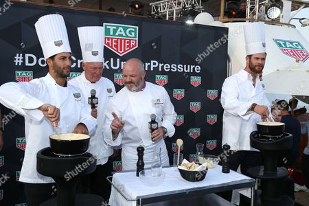 Daniel Ricciardo, The Tag-Heuer CEO, Jean-Claude Biver, Philippe Etchebest, Chris Hemsworth attend on the Seadream Boat during the TAG-Heuer Event