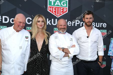 The Tag-Heuer CEO, Jean-Claude Biver, Chiara Ferragni, Philippe Etchebest, Chris Hemsworth attends on the Seadream Boat during the TAG-Heuer Event
