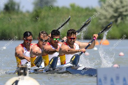 Rodrigo Germade, Marcus Walz Cooper, Carlos Garrote and Cristian Toro of Spain compete in the men's K4 500m final of the ICF Canoe Kayak Sprint World Cup in Szeged, 169 kms south of Budapest, Hungary, 28 May 2017.