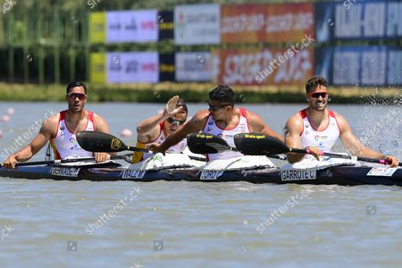 Rodrigo Germade, Marcus Walz Cooper, Carlos Garrote and Cristian Toro of Spain react after taking the second position in the men's K4 500m final of the ICF Canoe Kayak Sprint World Cup in Szeged, 169 kms south of Budapest, Hungary, 28 May 2017.