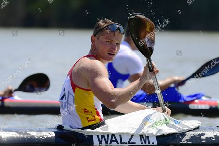 Marcus Walz Cooper of Spain reacts after taking the second position in the men's K4 500m final of the ICF Canoe Kayak Sprint World Cup in Szeged, 169 kms south of Budapest, Hungary, 28 May 2017.