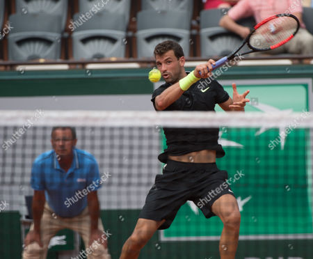 Grigor Dimitrov (BUL) (11) during his first round win over Stephane Robert (FRA).  Dimitrov  won the match in straight sets 6-2, 6-3, 6-4. French Open Tennis Championships, Roland Garros, Paris, France 28th May 2017.