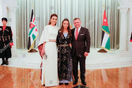 King Abdullah II and Queen Rania and Princess Lalla Salma at this year's celebration of the 71st Anniversary of Jordan's Independence Day