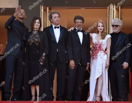 Will Smith, Agnes Jaoui, Paolo Sorrentino, Gabriel Yared, Jessica Chastain and Pedro Almodovar
