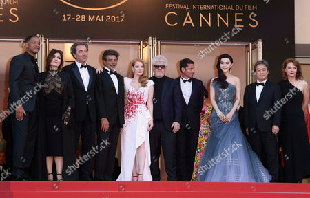 Will Smith, Agnes Jaoui, Paolo Sorrentino, Gabriel Yared, Jessica Chastain, Pedro Almodovar Fan Bingbing, Park Chan-Wook and Maren Ade