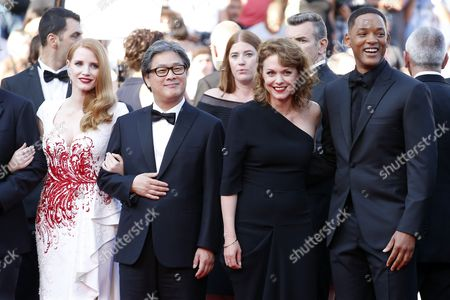 Jury members, Jessica Chastain, Park Chan-Wook, Maren Ade and  Will Smith arrive for the Closing Awards Ceremony of the 70th annual Cannes Film Festival, in Cannes, France, 28 May 2017. The Golden Palm winning movie will be screened after the closing ceremony.