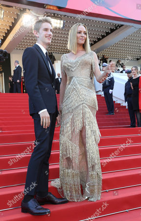 Uma Thurman, Levon Roan Thurman-Hawke Jury member and actress Uma Thurman, right, and her son Levon Roan Thurman-Hawke pose for photographers upon arrival at the award ceremony at the 70th international film festival, Cannes, southern France