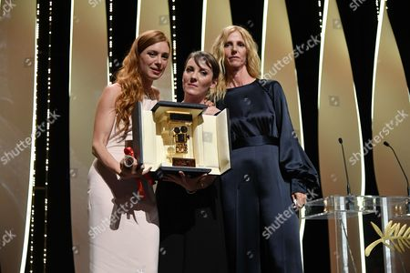 "Actress Laetitia Dosch and director Leonor Serraille winner of Camera d'Or for ""Jeune Femme "" and Sandrine Kiberlain"