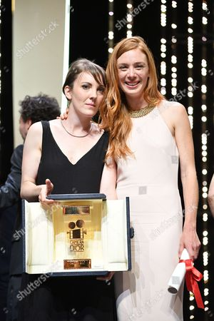 "Director Leonor Serraille and actress Laetitia Dosch and d winner of Camera d'Or for ""Jeune Femme """