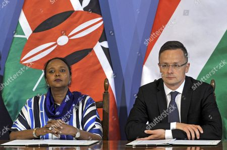Hungarian Foreign Minister Peter Szijjarto (R) and Kenya's Foreign Minister Amina Mohamed (L) take part in a signing ceremony of an intergovernmental agreement on a technological and economic cooperation programme in the Hungarian Ministry of Foreign Affairs and Trade in Budapest, Hungary, 29 May 2017.