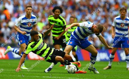 Nahki Wells of Huddersfield Town and Joey van den Berg of Reading in action