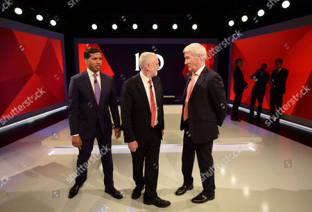 Labour leader Jeremy Corbyn, centre, broadcaster Jeremy Paxman, right, stand alongside Sky News political editor Faisal Islam, during a general election broadcast, in London, . ?Prime Minister Theresa May and Labour Party leader Jeremy Corbyn will face a live studio audience and a tough TV interviewer as the general election campaign moves to the airwaves