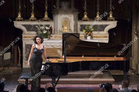 Pianist Khatia Buniatishvili, perform during 'Festival des Heures Musicales de Biot' at Eglise Sainte Marie Madeleine