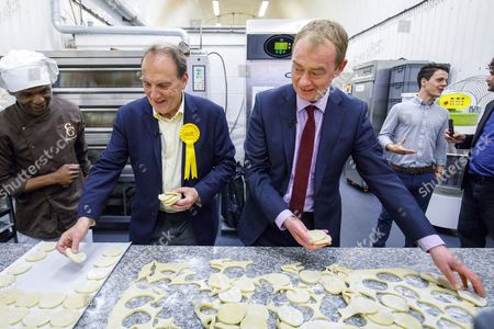 Leader of Liberal Democrats Tim Farron visits Comptoir Gourmand Bakery shop in Bermondsey, London with former Bermondsey and Old Southwark MP Sir Simon Hughes