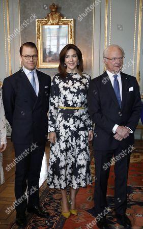 Prince Daniel, Crown Princess Mary, King Carl Gustaf. Lunch at the Royal Palace, Stockholm