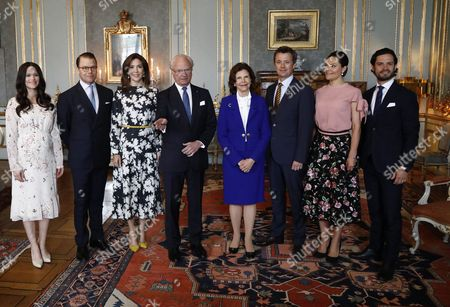 Princess Sofia of Sweden, Prince Daniel, Crown Princess Mary, King Carl Gustaf, Queen Silvia, Crown Prince Frederik, Crown Princess Victoria, Prince Carl Philip. Lunch at the Royal Palace, Stockholm