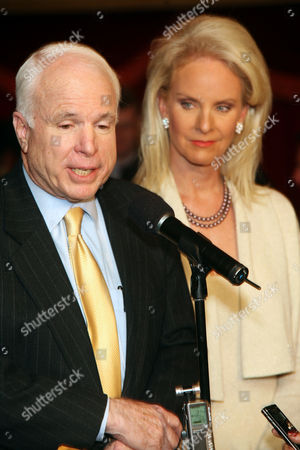 Senator John McCain with Wife Cindy Hensley McCain Addresses the Audience at a 'McCain Exchange Forum' at the Millenium Broadway Hotel March 8 2007