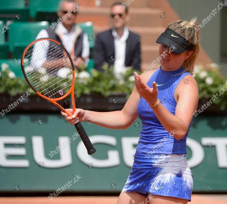 Elina Svitolina (UKR) (5) shows her frustration during her first round match against Yaroslava Shvedova (KAZ).  French Open Tennis Championships, Roland Garros, Paris, France 30th May 2017.