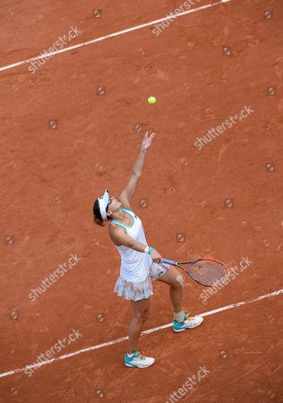 Yaroslava Shvedova (KAZ) serves during her first round match against Elina Svitolina (UKR) (5).  French Open Tennis Championships, Roland Garros, Paris, France 30th May 2017.