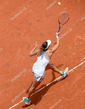 Yaroslava Shvedova (KAZ) in action during her first round match against Elina Svitolina (UKR) (5).  French Open Tennis Championships, Roland Garros, Paris, France 30th May 2017.