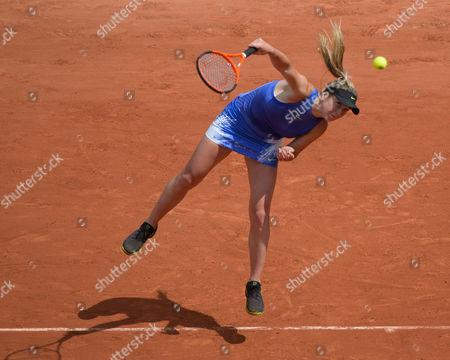 Elina Svitolina (UKR) (5) serves during her first round match against Yaroslava Shvedova (KAZ)).  French Open Tennis Championships, Roland Garros, Paris, France 30th May 2017.