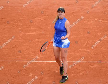 Elina Svitolina (UKR) (5) celebrates her win in her first round match against Yaroslava Shvedova (KAZ)).  French Open Tennis Championships, Roland Garros, Paris, France 30th May 2017.
