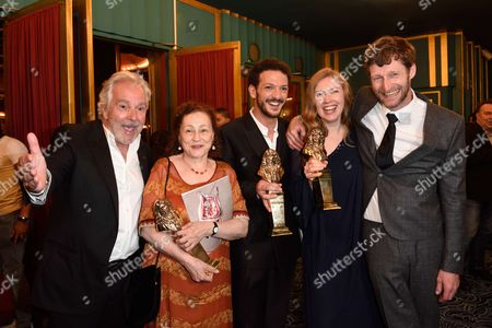 Pierre Arditi, Catherine Arditi and the laureats of Molieres, Vincent Dedienne Moliere for Humour