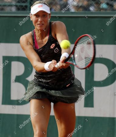 Yanina Wickmayer of Belgium in action against Daria Kasatkina of Russia during their women's 1st round single match during the French Open tennis tournament at Roland Garros in Paris, France, 30 May 2017.