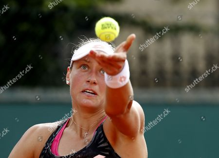 Yanina Wickmayer of Belgium plays against Daria Kasatkina of Russia during their women's 1st round single match during the French Open tennis tournament at Roland Garros in Paris, France, 30 May 2017.