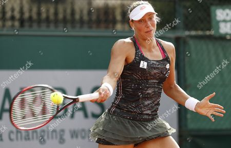 Stock Picture of Yanina Wickmayer of Belgium plays against Daria Kasatkina of Russia during their women's 1st round single match during the French Open tennis tournament at Roland Garros in Paris, France, 30 May 2017.