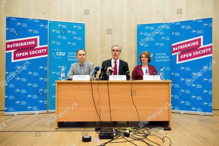 Editorial photo of Central European University press conference in Budapest, Hungary - 30 May 2017