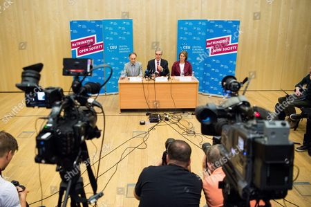 Editorial picture of Central European University press conference in Budapest, Hungary - 30 May 2017