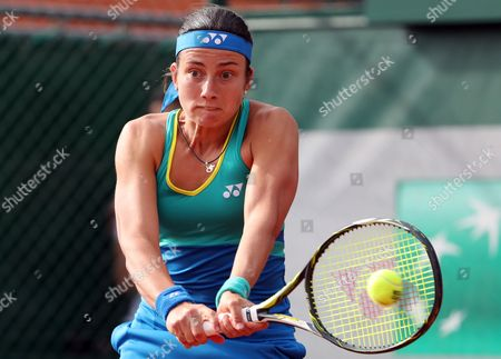 Anastasija Sevastova of Latvia in action against Annika Beck of Germany during their women's 1st round single match during the French Open tennis tournament at Roland Garros in Paris, France, 30 May 2017.