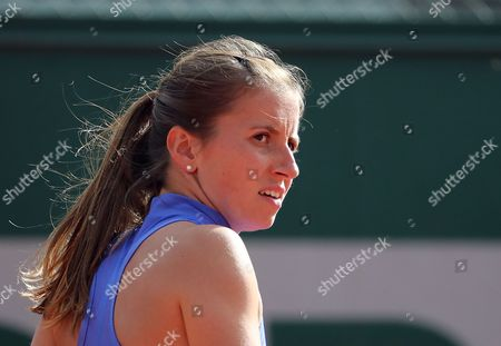 Annika Beck of Germany reacts as she plays against Anastasija Sevastova of Latvia during their women's 1st round single match during the French Open tennis tournament at Roland Garros in Paris, France, 30 May 2017.