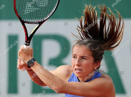 Annika Beck of Germany in action against Anastasija Sevastova of Latvia during their women's 1st round single match during the French Open tennis tournament at Roland Garros in Paris, France, 30 May 2017.